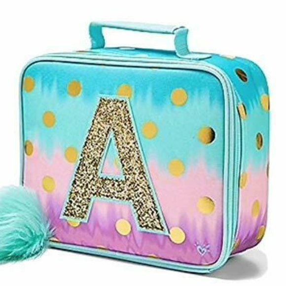 Justice Lunch Box Bag Tote Girls Green Purple Ombre Initial O Polka Dots New